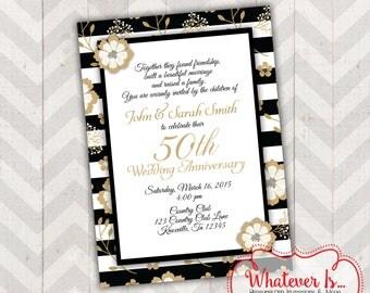 Black and Gold 50th Anniversary Invitation