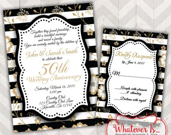 Black and Gold Anniversary Invitation Bundle; 50th Anniversary; Gold Anniversary