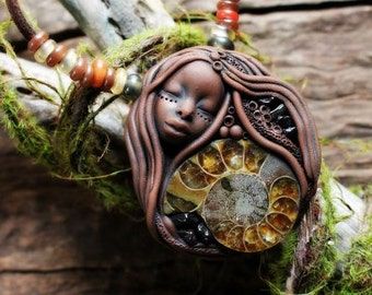 Ammonite Fossil Goddess Necklace with Raw Garnet. Hand Sculpted Clay by TRaewyn Jewelry.