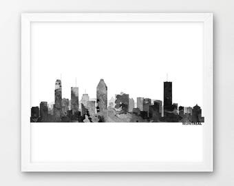 Montreal Skyline Print, Montreal Canada Silhouette Urban Cityscape print, Black White Grey, Modern Home Wall Office Art, Printable Decor