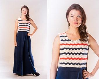 Navy blue Chevron 1970s vintage Floor length maxi dress / Sleeveless Nautical  maxi dress by Spinney / size Medium Large