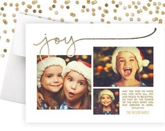 "Photo Christmas Card // Faux Gold Foil Joy - Romans 15:13 // 5x7"" printable Religious Christmas Card"
