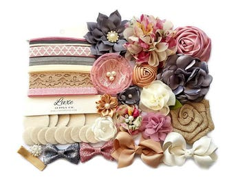 Baby Shower Headband Station - DIY Baby Headband Kit - Makes up to 14 headbands! Vintage, Floral, Burlap, Mauve, Ivory Charcoal - HK160