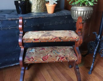 Vintage Victorian Wool Mohair and Wood Prayer Bench with Brass Studs | Home Decor, Display