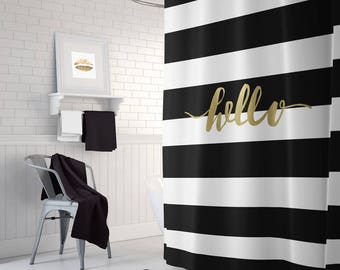 Black And Gold Shower Curtain Striped White