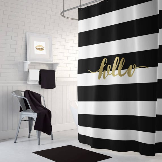 black and gold shower curtain striped shower curtain black. Black Bedroom Furniture Sets. Home Design Ideas