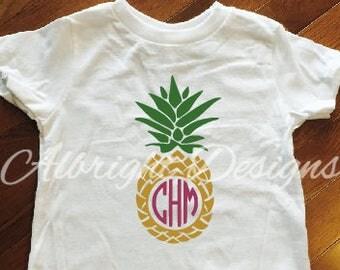 Girl's Pineapple monogram shirt, toddler pineapple monogram shirt, adult monogram shirt, beach shirt, vacation shirt, summer shirt