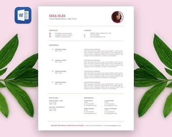 SALE Sera Modern RESUME Template | Custom Professional Crafted Layout for Resume + Cover Letter in Editable Word Doc File | Printable Resume