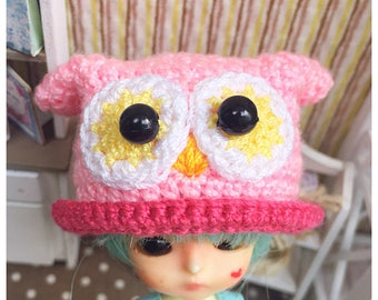 "Doll Hat for Lati White & Petite Blythe : ""Pink Owl Hat"" (Crochet Hat)"