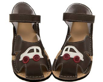 GrayToddler Leather Sandals,lining, car, Vibram sole, support barefoot walking, sizes EU 16 to 24 - US 2 to 7.5