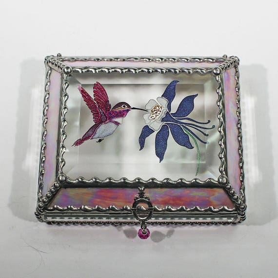 Etched Hand Painted Hummingbird and Columbine Treasure Box -Treasure Box