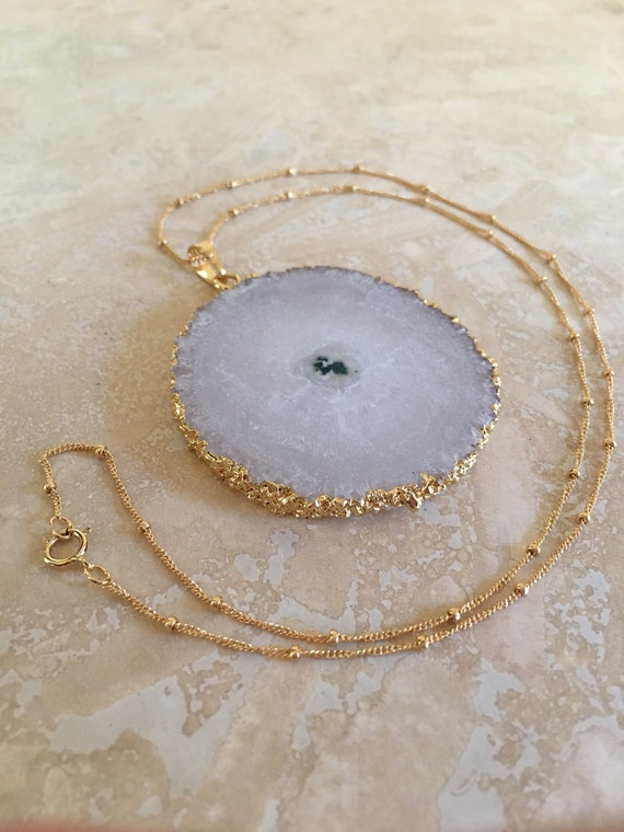 Sliced Quartz Druzy Necklace