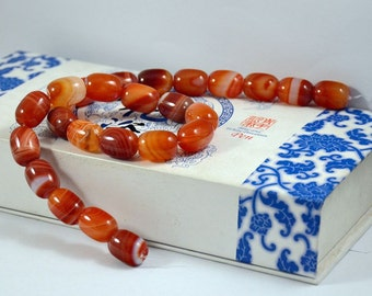 Barrel bead Red Color Agate Beads ----- 12mm x16mm ----- 25Beads, Agate beads