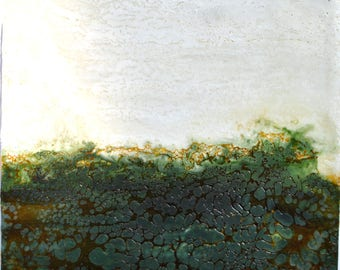 "Original Encaustic Painting - ""Emerald Green"" No. 1"
