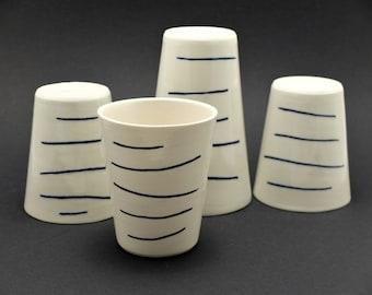 Simple elegant porcelain mug, contemporary ceramics, modern mug, cobald blue ripped mug, coffee mug, Serie Chinese Pagodas