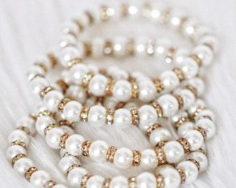 Gold & Silver Pearls with Rhinestone Bracelet  - Women Wedding Bracelet, Bridesmaids gift