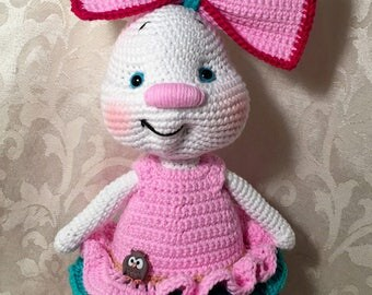 Beatrice Bunny with a pretty dress - crocheted, handmade