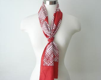 Vintage Long Red and White Scarf - CrissCross Scarves - Womens Fall Accessories