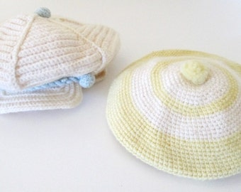 Vintage Crochet Baby Hats - Set of 2