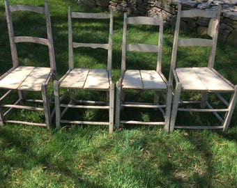Set of 4 reclaimed wood chirs