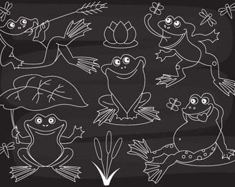 50% OFF SALE Chalkboard Frog Clipart -  Digital Vector Frog, Lily, Frogs, Pond, Chalkboard Frog Clip Art
