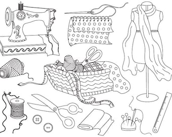 Sewing Clipart - Digital Vector Sewing Machine, Threads, Scissors, Dummy, Fabric Clip Art