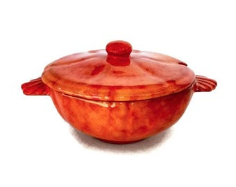 Italian Pottery Tureen by Cantagalli Burnt Orange Glaze 1970's, Florence Italy, Small Covered Soup Bowl