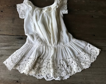 Edwardian White Cotton Lace Childs Dress, Embroidery and Lace Skirt and Sleeves