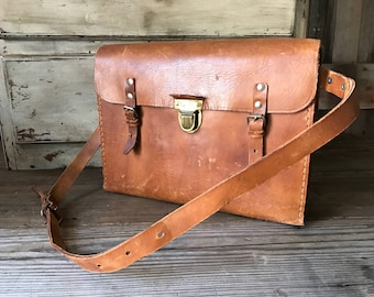 Belted Leather Crossbody Briefcase, Made in England, Leather Carry Strap