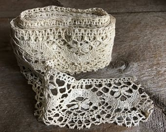 Antique Ecru Lace Trim, Wedding Lace, over 13 Yards, Sewing Projects, Vintage Textiles, Wedding Lace