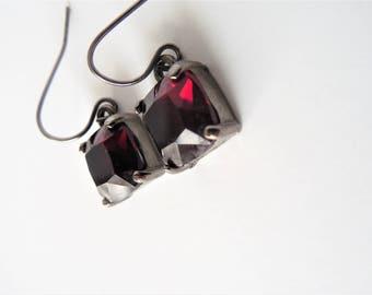 Deep Red Earrings, Ruby Earrings, Ruby Slipper, Deep Red, Dark Earrings, Simplistic, Simple,