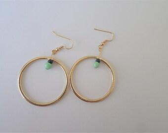 Gold and Green Earrings, Hoop Earrings, Gold Hoop, Minimalistic Style, Minimalism, Green, Circular, Golden,