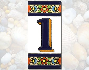 """Ceramic tile number, Number tile, Ceramic number, House number sign, House number, Ceramic tile numbers for house, 4"""" tall NUMBER 1"""