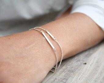 Sterling silver bar bracelet, Everyday bracelet, Minimalist bracelet, 925 silver bracelet, Silver bar bracelet, Dainty layered bracelet