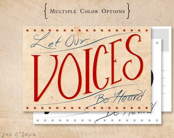 Printable Postcard - Let Our Voices Be Heard - 4x6 Print Your Own - Handlettered Political America Stars USA Donation