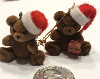 set of 2  brown mini vintage christmas teddy bear ornaments, 35 mm (A3)