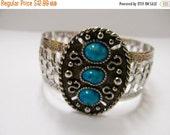 On Sale SARAH COVENTRY Vintage Faux Turquoise Cuff Bracelet Item K # 2855