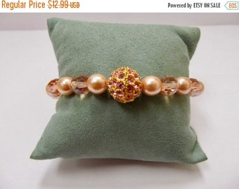 On Sale JOAN RIVERS Faceted Shades of Pink Crystal and Faux Pearl Bracelet Item K # 3020