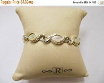 On Sale Vintage Faux Mother of Pearl Panel Bracelet Item K # 1056
