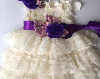 45%off Extra Full Flower Girl Lace Dress, Baby Doll Bridesmaid Girl Wedding,Birthday,Sash Ruffle Lace Country Couture Style,purple/rsoy gold