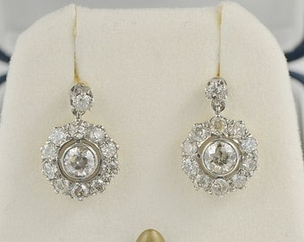 Authentic Edwardian 3.20 Ct old European cut diamond cluster earrings