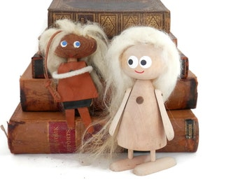 Pair Swedish Troll Dolls  Wood and Leather Dolls from Sweden MCM decor 1970's Hans Bolling Style