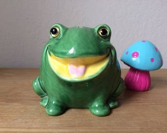 Retro Jeremiah the Bullfrog, Vintage LEFTON Green BullFrog Bank with Glass Eyes, Lefton Frog Bank # H3893R, Made in Japan