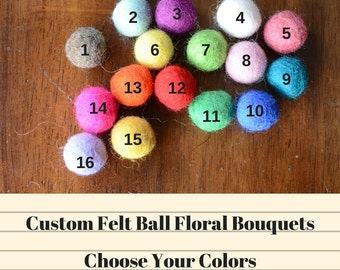 Custom Felt Ball Flower Bouquet - Choose Your Colors - 2 cm wool felted ball craspedia, billy ball buttons, nursery decor, party decorations