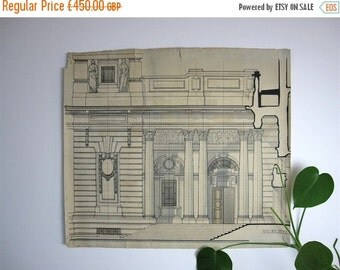 ON SALE Large Vintage Architectural Drawing, technical drawing, 1930s drawing, pen and wash, classical architecture