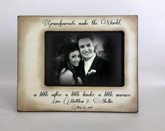 Grandparent Picture Frame Gift, Grandma,Grandpa,Wood Personalized Frame,Grandchildren,Grandkids, Gifts Mementoes, Wedding Gift for grandma