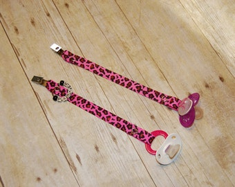 Pacifier Clip, Pink Leopard, Personalization Available, Ready to Ship, Free USA Shipping