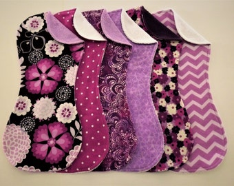 Purple, Lavender, Orchid Burp Cloth Set of 6 in Terry and Flannel