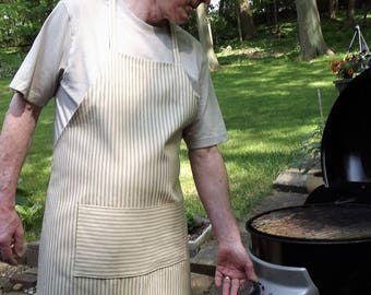 Denim Apron in Beige and Brown for Men or Women