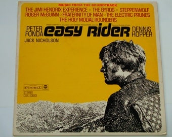 "Easy Rider Soundtrack Record - Jimi Hendrix - The Byrds - Steppenwolf - ""Born to Be Wild"" - Dunhill 1969 - Vintage Vinyl LP Record Album"